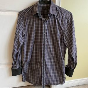 (2 For $35) RW & Co. Purple & White plaid regular dress shirt in size Small